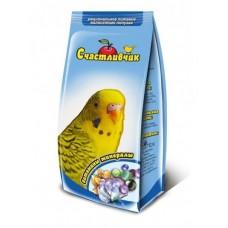 Корм Счастливчик для волнистых попугаев, витамины/минералы, 350 г