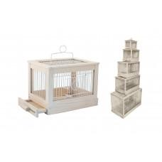 """Клетка Yami-Yami """"Под старину"""" для птиц, малая, деревянная, цвет белый, 47,5x27x32 см"""