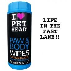 """Салфетки гипоаллергенные Pet Head Paw & Body """"Цитрусовый бум"""" для лап и тела, 50 шт"""