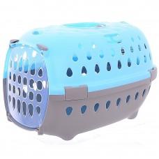 Переноска Stefanplast Gulliver Travel Chic для транспортировки, с пластиковой дверцей, небесно-голубая, до 6 кг, 48x32x31 см