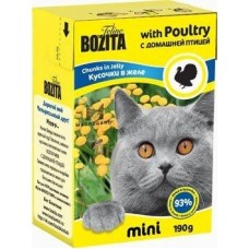 Корм Bozita Mini Chunks in Jelly with Poultry для кошек, домашняя птица, кусочки в желе, tetra pak, 190 г