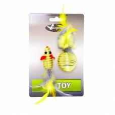 """""""Мышка и мячик с перьями"""" 5+4см серебряно-золотые, Cat toy mouse 5 cm and ball 4 cm with feather on card"""