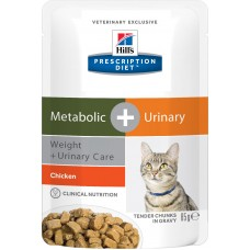 Hill's Prescription Diet Metabolic + Urinary Feline, курица, 85 гр