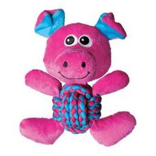 """Игрушка Kong Weave Knots """"Свинка"""" для собак, средняя, 22*20 см"""