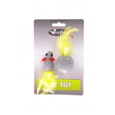 """Мышка и мячик с перьями"" 5+4см серые, Cat toy mouse 5 cm and ball 4 cm with feather on card"