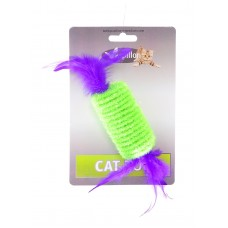 "Игрушка Papillon Roller with rattle and feather on card для кошек ""Рулет с перьями"", 10 см"