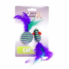 """Игрушка Papillon Cat toy mouse 5 cm and ball 4 cm with feather on card для кошек """"Мышка и мячик с перьями"""", вязаные, 5+4 см"""