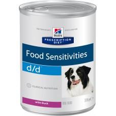 Корм Hills d/d Food Sensitivities для собак при пищевой аллергии, диетический, утка, банка, 370 г