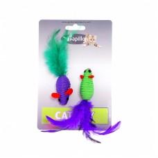 "Игрушка Papillon Cat toy 2 mice 5 cm on card для кошек ""Две мышки с перьями"", 2х5 см"