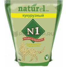 Наполнитель N1 Naturel Кукурузный, комкующийся, 4.5 л, 1.81 кг