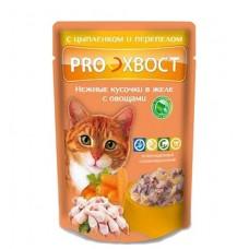Корм Прохвост для кошек, цыпленок/перепелка, в желе, пауч, 85 г