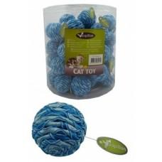 "Игрушка Papillon Blue/silver ball 4 cm with rattle in tube для кошек ""Мячик"" с погремушкой, текстиль, 4 см"