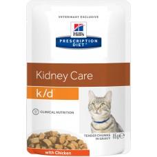 Корм Hills Prescription Diet k/d Kidney Care при заболевании почек, диетический, курица, пауч, 85 г