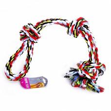 """Игрушка Papillon Cotton flossy toy double 3 knots для собак """"Веревка Двойная с 3 узлами"""", хлопок, 60 см"""